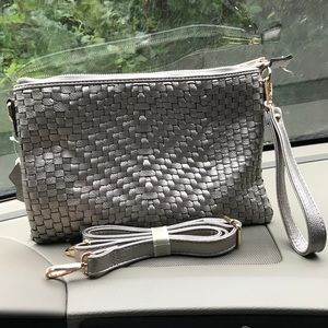 Handbags - NWT Pewter leather woven convertible XL clutch